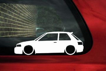 2x LOW Mazda 323 familia GTR / GTX hatchback outline stickers / Decals